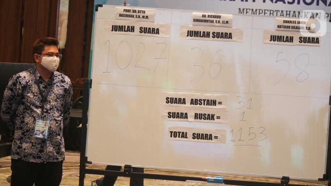 Hasil suara pemilihan Ketua Umum Peradi periode 2020-2025 dengan mekanisme konvensional yang diikuti secara daring dalam Munas III Peradi di Bogor, Rabu (7/10/2020). Munas secara daring memutuskan Otto Hasibuan terpilih sebagai Ketua Umum Peradi periode 2020-2025. (Liputan6.com/HO/Agus)