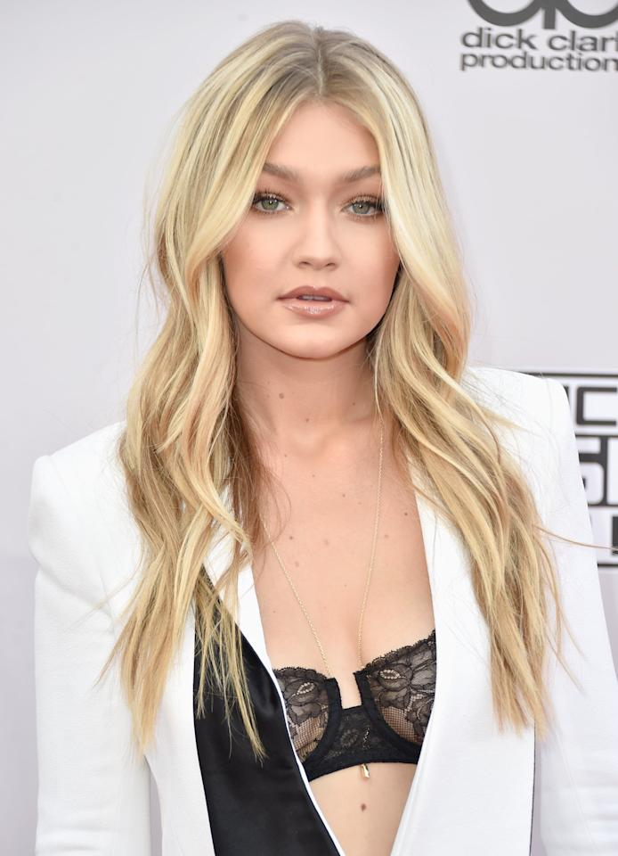 <p>At the 2014 American Music Awards, we couldn't stop staring at Hadid's near-platinum hair color. </p>