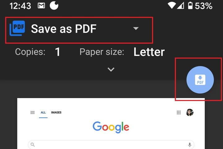 Chrome for Android save as pdf screenshot