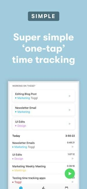Screenshot of the Toggl app showing one-tap time tracking
