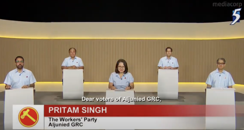 Workers' Party's Aljunied GRC candidates speaking at a televised constituency political broadcast on 3 July 2020. (SCREENSHOT: Mediacorp)