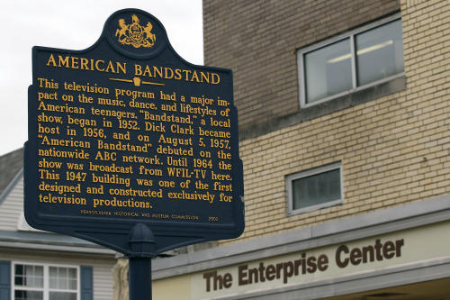 "A marker to commemorate ""American Bandstand"" stands in front of the Enterprise Center, Wednesday, April 18, 2012 in Philadelphia. The Enterprise Center is located in the former American Bandstand studios. Dick Clark, the ever-youthful television host and producer who helped bring rock 'n' roll into the mainstream on ""American Bandstand"" and rang in the New Year for the masses at Times Square died at 82. (AP Photo/Alex Brandon)"