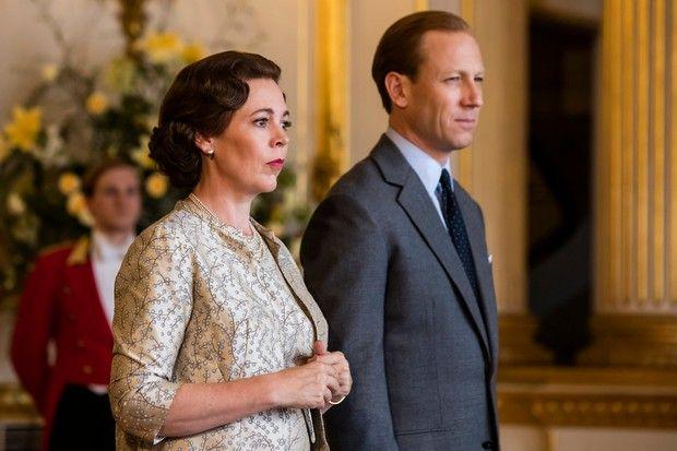 A photo of Olivia Coleman and Tobias Menzies as Queen Liz and the Duke of Edinburgh respectively on set of The Crown season three.