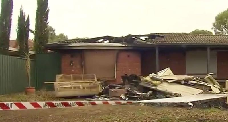 A family home in Adelaide's suburb of Paralowie which has been badly damaged by fire.