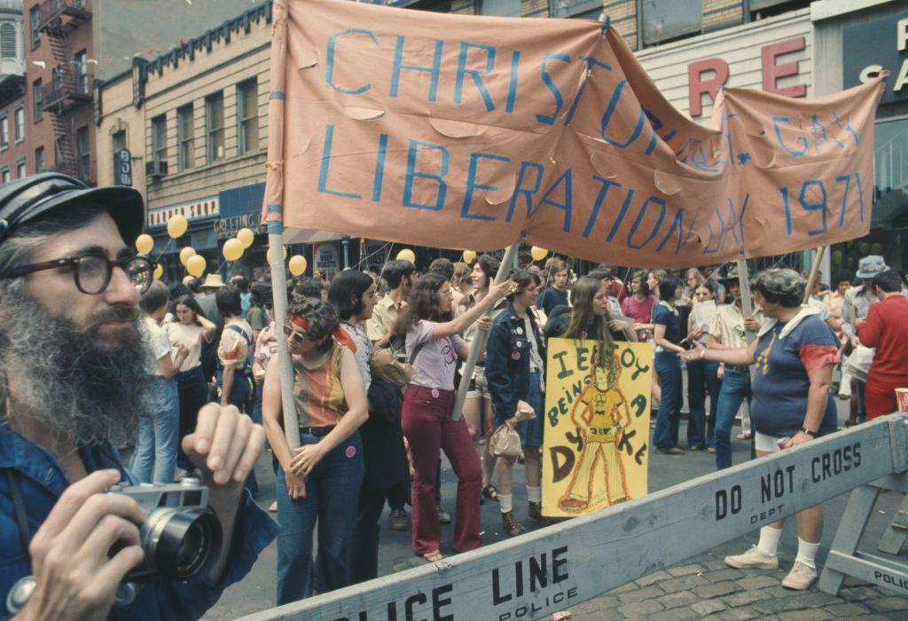 <p>Exactly two years after the Stonewall Rebellion, a Christopher Street Gay Liberation Day parade marches down New York City in 1971.<br></p>