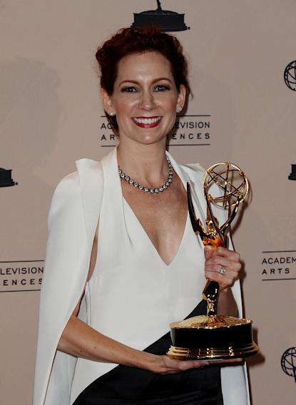 Carrie Preston poses in the press room at the 2013 Primetime Creative Arts Emmy Awards, on Sunday, September 15, 2013 at Nokia Theatre L.A. Live, in Los Angeles, Calif. (Photo by Scott Kirkland/Invision for Academy of Television Arts & Sciences/AP Images)