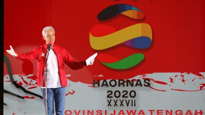 Gubernur Jawa Tengah Ganjar Pranowo di Peringatan Hari Olahraga Nasional (Haornas) ke 37 yang berlangsung GOR Pesantenan Kabupaten Pati, Rabu (9/9/2020)