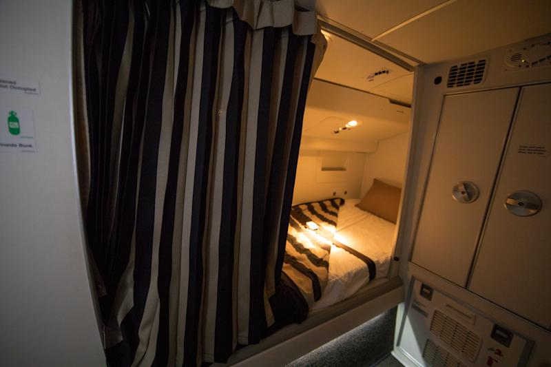 Bunk bed under the roof of an aircraft for flight attendants to sleep in