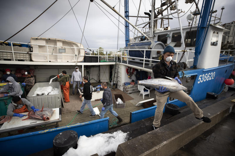 """Fishing boat captain Nick Haworth, right, carries tuna to a dock for sale Friday, March 20, 2020, in San Diego. Haworth came home to California after weeks at sea to find a state all but shuttered due to coronavirus measures, and nowhere to sell their catch. A handful of tuna boats filled with tens of thousands of pounds of fish are now floating off San Diego's coast as they scramble to find customers. Haworth was selling on Friday to individuals for less than half what he would get from wholesalers. """"This is a quarantine special,"""" he joked. (AP Photo/Gregory Bull)"""
