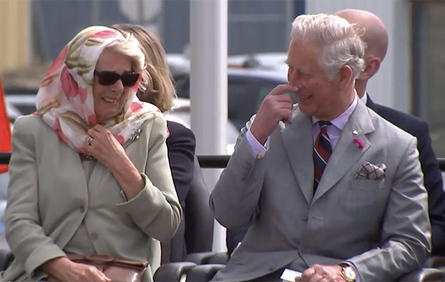 Charles and Camilla were caught giggling while watching two Indigenous women perform in Canada. Photo: YouTube