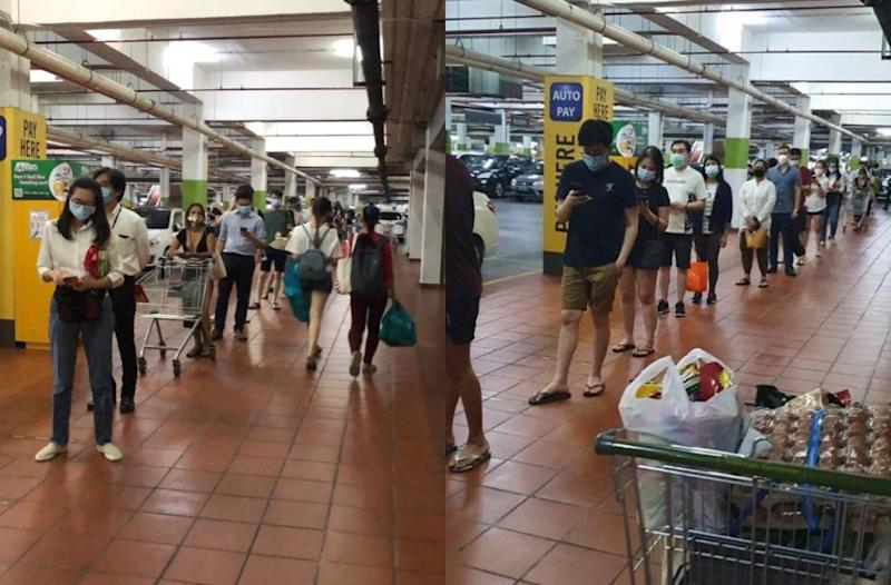 Long queue of shoppers outside Village Grocer at Citta Mall, Petaling Jaya. Photos: Ellill_E/Twitter