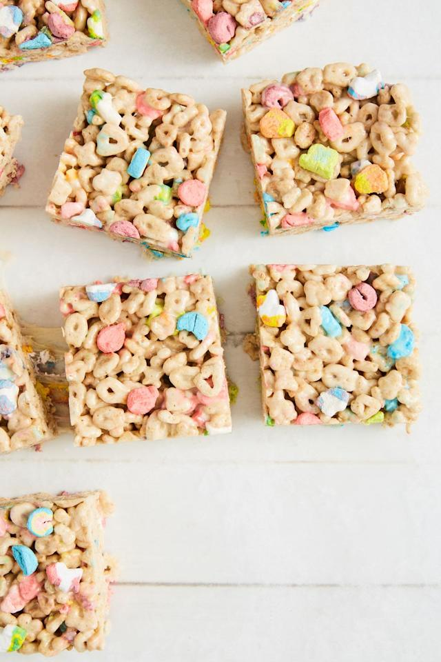 "<p>We spruce up your favorite treat with rainbow colors AND extra marshmallows. </p><p>Get the recipe from <a href=""https://www.delish.com/cooking/recipe-ideas/a30982529/lucky-charms-marshmallow-treats-recipe/"" target=""_blank"">Delish. </a></p>"
