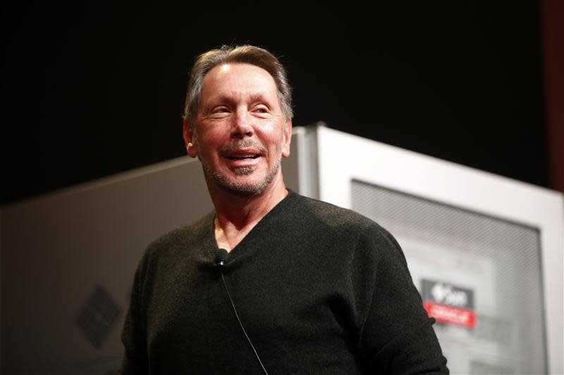Co-founder and Chief Executive of Oracle Corporation, Ellison introduces the company's latest SPARC servers at Oracle Conference Center in Redwood Shores