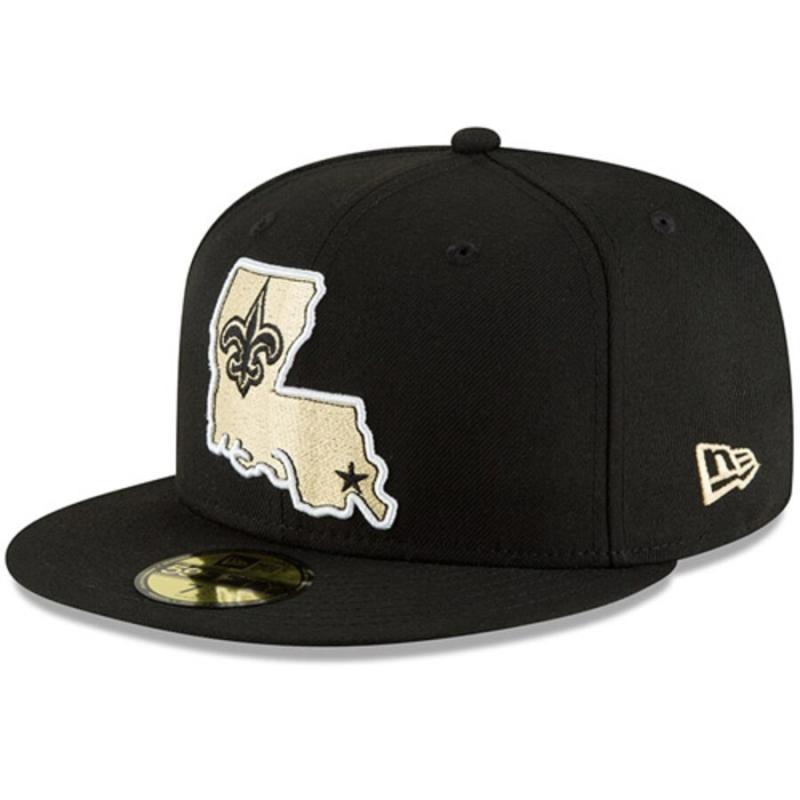 Men's New Era Black New Orleans Saints Omaha 59FIFTY Hat