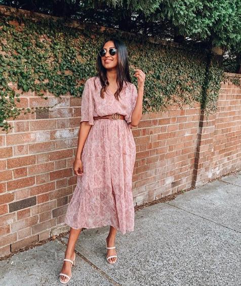 Tina Abeysekara wears a pink Kmart dress