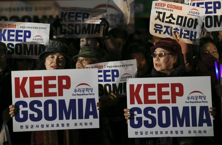 Pro-US activists clutch signs at an anti-government rally demanding an extension of the General Security of Military Agreement outside the US embassy in Seoul