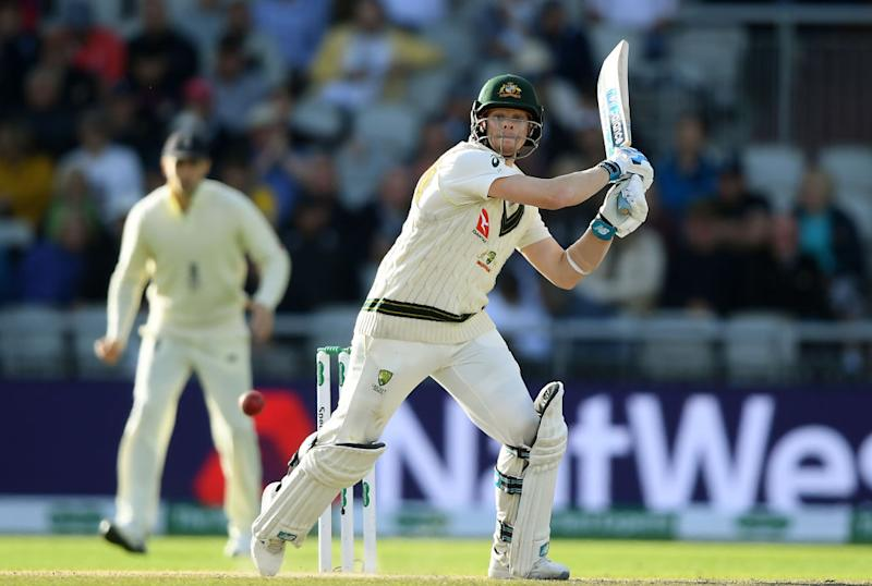 Steve Smith of Australia bats during Day Four of the 4th Ashes Test between England and Australia at Old Trafford on September 07, 2019 in Manchester, England. (Photo by Alex Davidson/Getty Images)