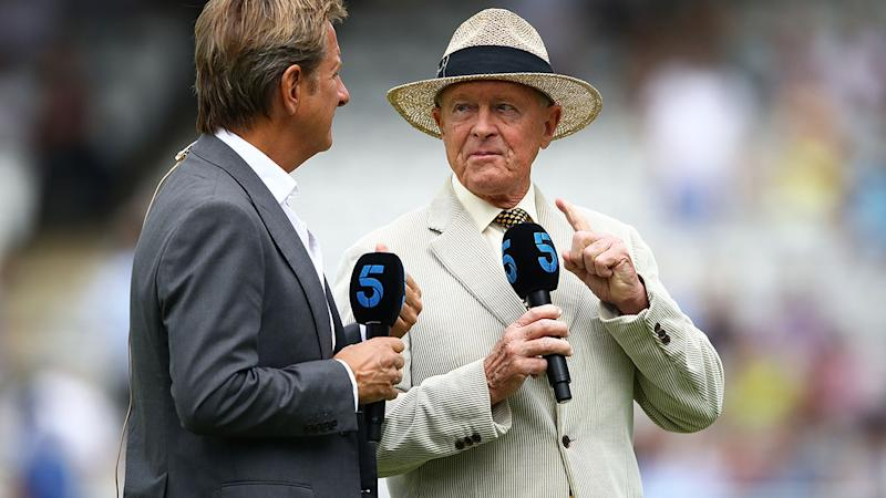 Geoffrey Boycott (R) and Mark Nicholas talk ahead of the first Ashes Test. (Photo by Julian Finney/Getty Images)