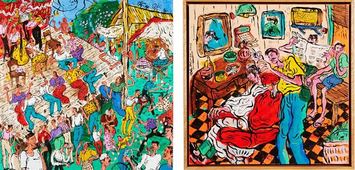 "Artwork by Kide Baharudin: ""Joget Kenduri Kahwin"" (left) and ""Jambul di Depan"" (right)"