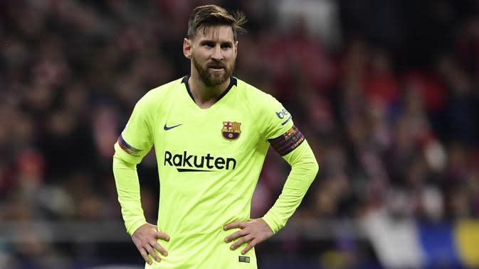 Lionel Messi saat pertandingan Barcelona menghadapi Atletico Madrid di stadion Wanda Metropolitano, Madrid pada 24 November 2018. (AFP/Javier Soriano)