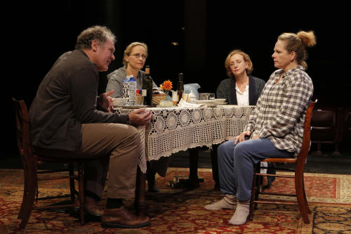 """This undated photo provided by The Public Theater shows, from left, Jay O. Sanders, Laila Robins, J. Smith-Cameron and Maryann Plunkett, in 'Sorry,"""" Richard Nelson's third play about the Apple family, performing off-Broadway at The Public Theater in New York. (AP Photo/The Public Theater, Joan Marcus)"""