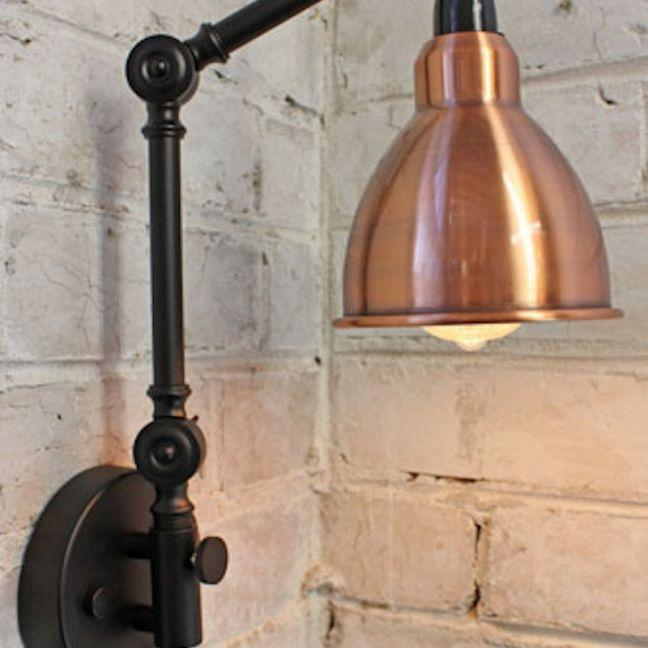 the block shop Industrial Two Arm Swing Wall Lamp