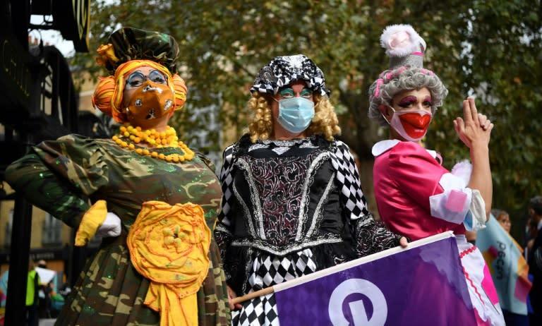 Pantomime dames hit London streets to urge virus funding