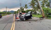 旗山小轎車過彎失控 撞斷電桿1死2傷