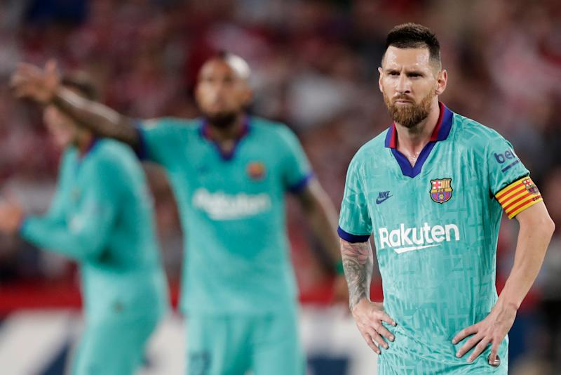 GRANADA, SPAIN - SEPTEMBER 21: Lionel Messi of FC Barcelona during the La Liga Santander match between Granada v FC Barcelona at the Nuevo Estadio de Los Cármenes on September 21, 2019 in Granada Spain (Photo by Jeroen Meuwsen/Soccrates/Getty Images)