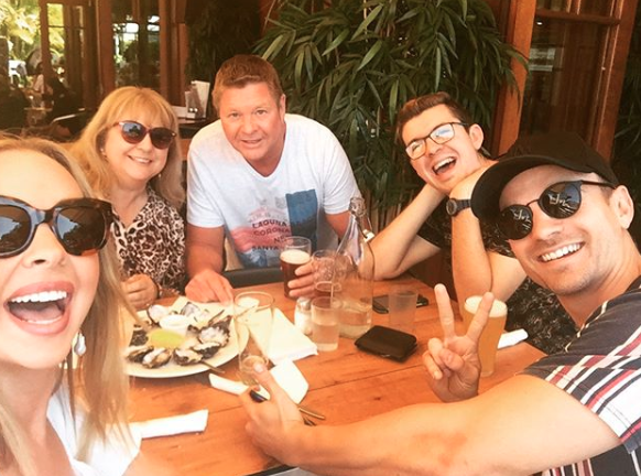 Angie Kent with mum Jane Kent, dad, brother Josh Kent and other brother Bradley Kent as seen on Bradley's Instagram account