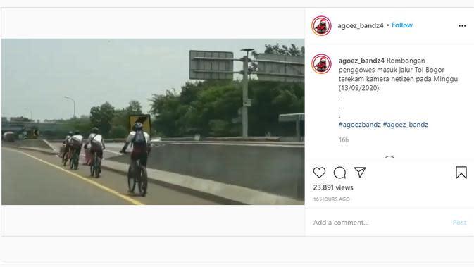 Dari video yang dibagikan akun Instagram @agoez_bandz4, terlihat beberapa sepeda nekat berkendara di jalan tol.