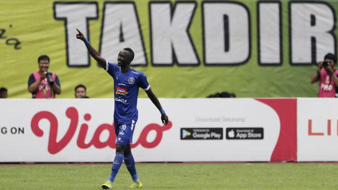 Makan Konate memperkuat Arema FC musim lalu. (Bola.com/Yoppy Renato)