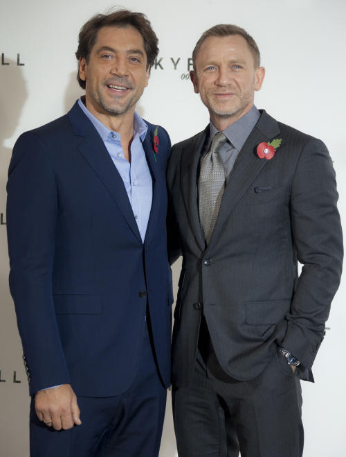 Actors Javier Bardem and Daniel Craig pose for photographs at a photocall for the new James Bond film, at a central London restaurant venue, Thursday, Nov. 3, 2011. The film is the 23 in the series, and goes into production on November 7, 2011. (AP Photo/Joel Ryan)