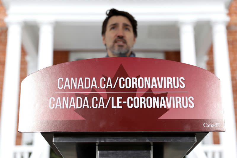 Canada's Prime Minister Justin Trudeau attends a news conference as efforts continue to help slow the spread of coronavirus disease (COVID-19) in Ottawa