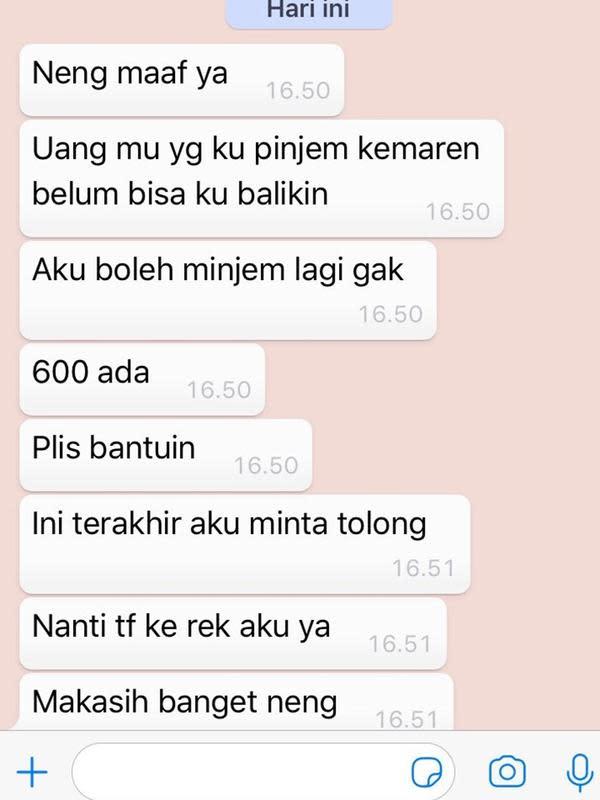 5 Chat Punya Utang ke Pacar Ini Bikin Tepuk Jidat (sumber: Twitter.com/akubuchen)