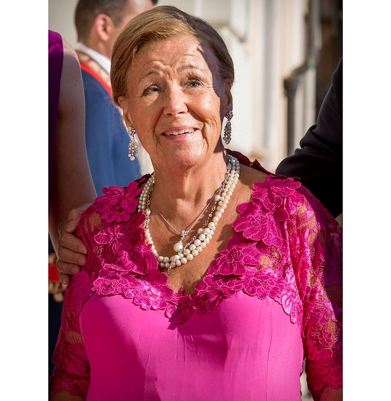 Princess Christina of the Netherlands wears pink and pearls