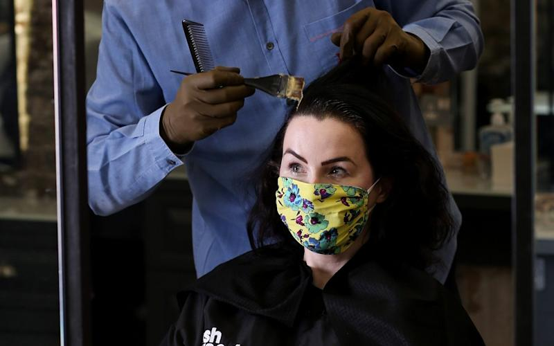 Hannah Betts was quick to have her hair cut when hairdressers reopened today following lockdown - Clara Molden