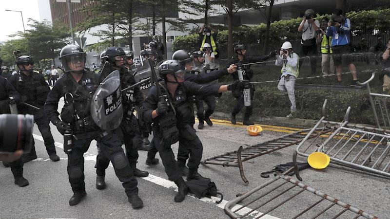 Police have used pepper spray and rubber bullets on extradition law protesters in Hong Kong