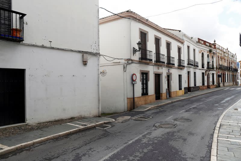 An empty street is pictured during partial lockdown as part of a 15-day state of emergency to combat the coronavirus disease (COVID-19) outbreak in downtown Ronda