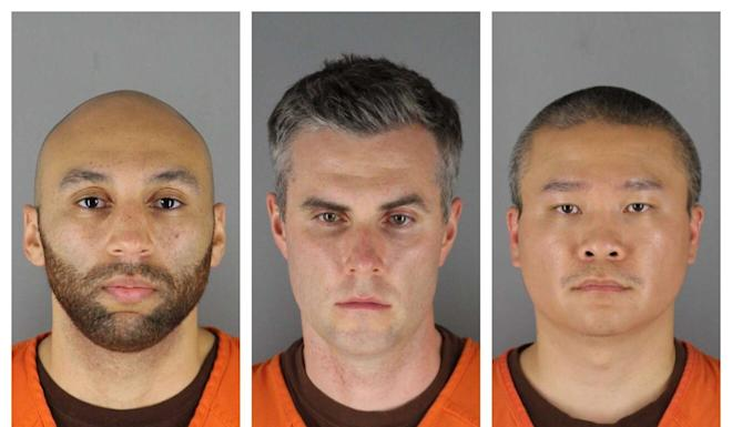 (L-R) Alexander Kueng, Thomas Lane and Tou Thao have been charged with aiding and abetting Derek Chauvin (not pictured), who is charged with second-degree murder of George Floyd. Photo: AP