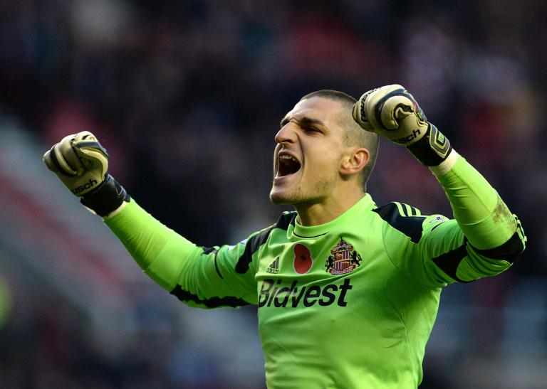 Sunderland's Mannone reacts after their English Premier League soccer match against Manchester City in Sunderland