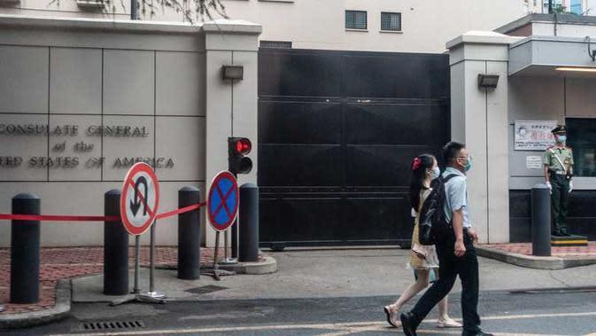 Kantor konsulat Amerika Serikat di China yang akan segera ditutup. (Foto: STR/ AFP)