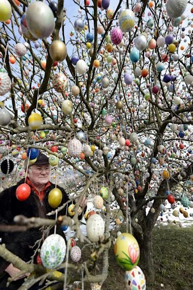 Man Decorates Tree With 10,000 Easter Eggs