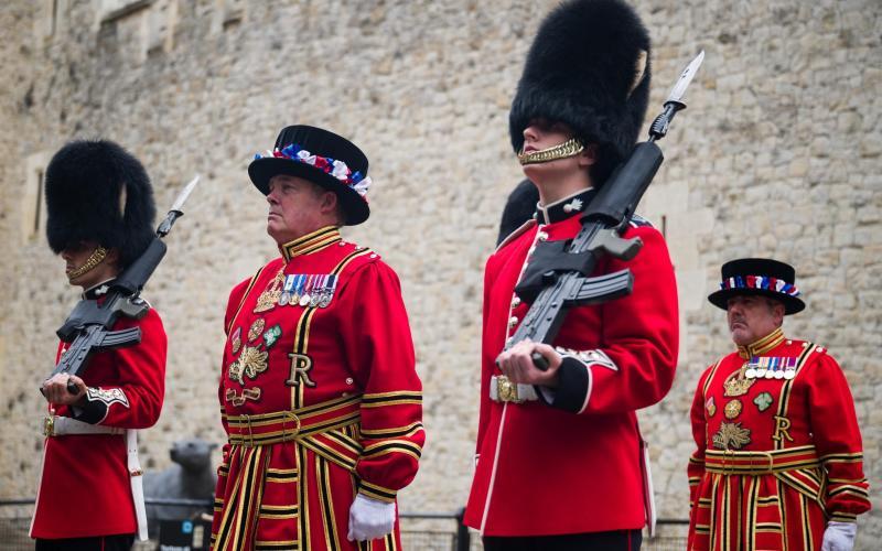 The Queen's guards wear bearskin hats - Getty