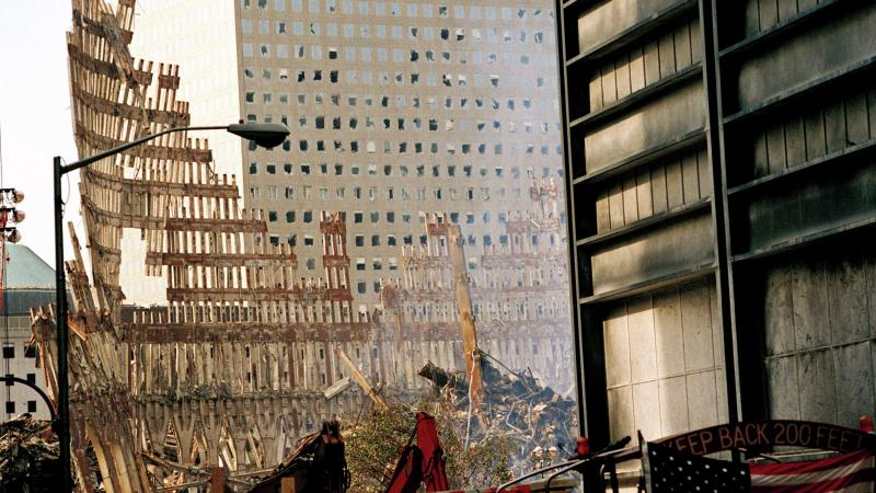 Steel Skeleton of World Trade Center Tower South (one) in Ground Zero days after September 11, 2001 terrorist attack which collapsed the 110 story twin towers in New York City, NY, USA.