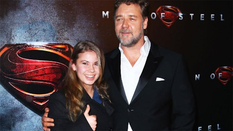 Bindi Irwin and Russell Crow at Man of Steel premiere