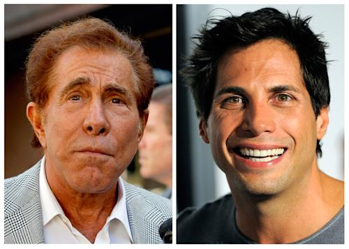 """FILE - This photo combination of file photos shows casino mogul Steve Wynn, left, in Los Angeles, and """"Girls Gone Wild"""" founder Joe Francis, in Los Angeles. A judge has cut casino mogul Steve Wynn's slander verdict against """"Girls Gone Wild"""" founder Joe Francis by $21 million, more than half of the original $40 million jury verdict. A jury found that Francis slandered Wynn when he claimed the casino mogul threatened to kill him and bury him in the desert. (AP Photo/Nick Ut, Chris Pizzello, file)"""