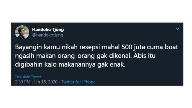 Cuitan Kocak Saat Bayangin 'Nikah 500 Juta' Ini Sukses Bikin Cengar Cengir (sumber:Twitter/handokotjung)