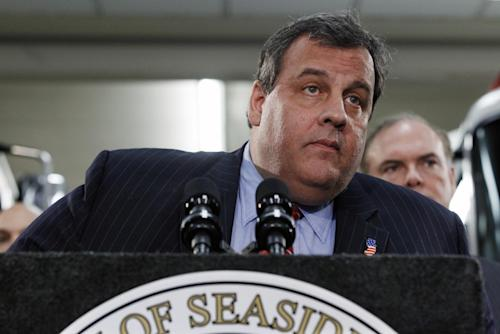 "New Jersey Gov. Chris Christie listens to a question as he announces his ""Hurricane Sandy Flood Map Regulations"" Thursday, Jan. 24, 2013, in Seaside Heights, N.J. The town, which was featured in the MTV reality show ""Jersey Shore"" sustained substantial damage to homes and its boardwalk during Superstorm Sandy. (AP Photo/Mel Evans)"