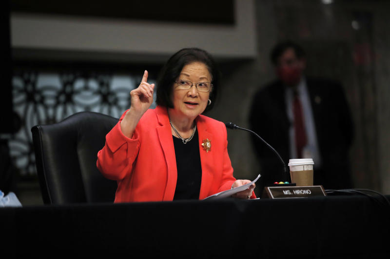 Sen. Mazie Hirono, D-Hawaii, speaks during a Senate Judiciary Committee business meeting to consider authorization for subpoenas relating to the Crossfire Hurricane investigation, and other matters on Capitol Hill in Washington, Thursday, June 11, 2020. (AP Photo/Carolyn Kaster, Pool)